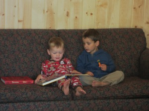 Reading with his cousin Prise